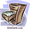 Vector Clip Art graphic  of a files in a filing cabinet