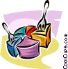 Vector Clipart picture  of a pie chart with forks taking