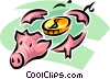 Vector Clip Art image  of a broken piggy bank