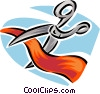 Vector Clipart image  of a scissors cutting a red ribbon