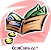 wallet with money and credit cards Vector Clipart graphic
