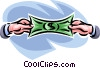 stretching a dollar bill Vector Clipart graphic