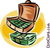 Vector Clip Art image  of a briefcase full of money
