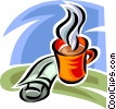 Vector Clip Art graphic  of a newspaper and a coffee