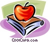 apples and school books Vector Clipart graphic