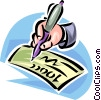hand with fountain pen signing a check Vector Clipart illustration