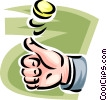hand flipping a coin Vector Clipart graphic