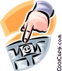 hand pointing to a computer key on a keyboard Vector Clipart illustration