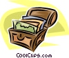 Vector Clip Art image  of a treasure chest with documents