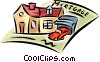 Vector Clipart graphic  of a contract with home and vehicle