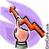 Vector Clip Art image  of a hand pointing at a sales
