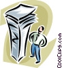 man looking at a large stack of paperwork Vector Clip Art graphic