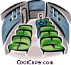 man sitting in a subway car holding his briefcase Vector Clipart graphic