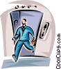 man walking off of the elevator Vector Clipart picture