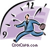 Vector Clipart graphic  of a time concept with man running