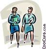 colleagues walking Vector Clipart illustration