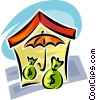 home mortgage with umbrella and bags of money Vector Clipart illustration