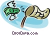Vector Clipart illustration  of a catching money with a net