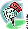 For sale sign, realty Vector Clipart illustration