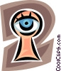 Vector Clipart graphic  of a keyhole with an eye looking