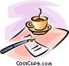 cup of coffee, fountain pen and a saucer Vector Clipart image