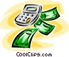 Vector Clipart picture  of a calculator with dollar bills