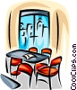 Vector Clip Art graphic  of a table and chairs