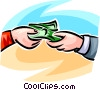Vector Clip Art graphic  of a dollar bills exchanging hands