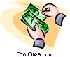 Vector Clip Art image  of a counting dollar bills