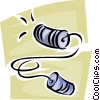 Vector Clip Art graphic  of a cup and string telephone