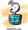 Vector Clip Art image  of a satellite television