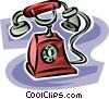antique telephone Vector Clipart image
