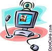 Vector Clip Art graphic  of a computer with microphone and