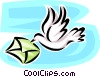 airmail delivery with bird and envelope Vector Clipart illustration