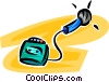 microphone and tape recorder Vector Clipart image
