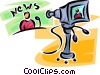 Vector Clip Art picture  of a news anchor and camera