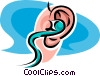 ear with a hearing aid in it Vector Clipart illustration
