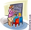 Vector Clipart graphic  of a teacher teaching sign language