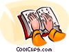 Vector Clip Art image  of a person reading a Braille book