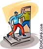 man helping a disabled person through the door Vector Clipart picture