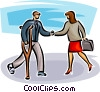 Vector Clip Art image  of a two business people shaking