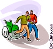 Vector Clipart graphic  of a One man helping another man