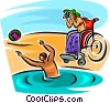 two people playing at the beach Vector Clipart illustration