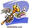Vector Clipart illustration  of a Trumpet with music
