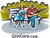 couple sitting on a park bench Vector Clipart graphic