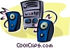 Vector Clip Art graphic  of a stereo system