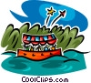 boat ride and fireworks Vector Clipart picture