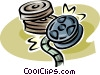 Vector Clip Art graphic  of a movie reels