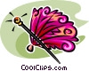 hand fan and walking stick Vector Clipart illustration