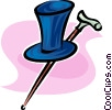 top hat and walking cane Vector Clipart graphic